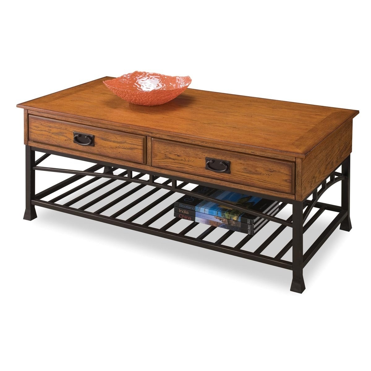 Modern Craftsman Distressed Oak Coffee Table by Home Styl...