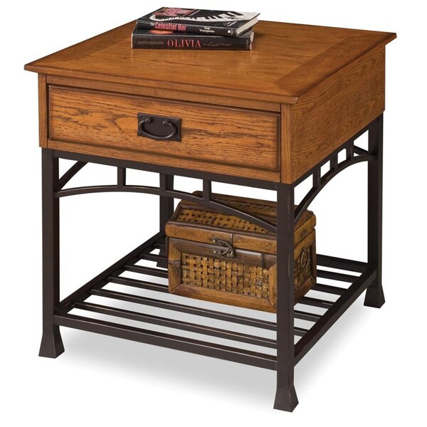 Shop Modern Craftsman Distressed Oak End Table By Home Styles Free