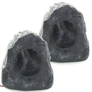 Acoustic Audio G4RS Grey 400-watts Indoor/ Outdoor Weatherproof Rock Speaker (Pair)