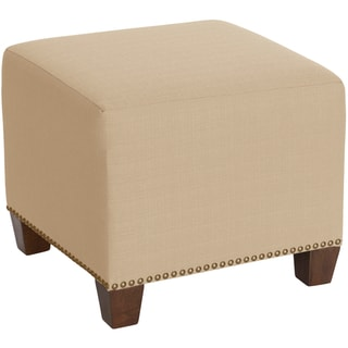 Skyline Furniture Square Nail Button Ottoman in Klein Ricepaper