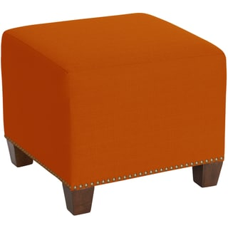 Skyline Furniture Square Nail Button Ottoman in Klein Saffron