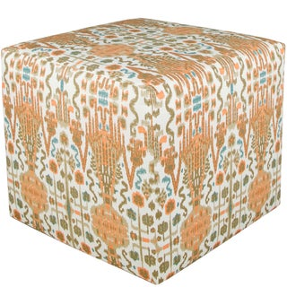 Skyline Furniture Cube Ottoman in Bombay Mango Cotton