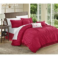 Maison Rouge Maillart 11-piece Pink Pleated and Ruffled Comforter Bed in a Bag Set