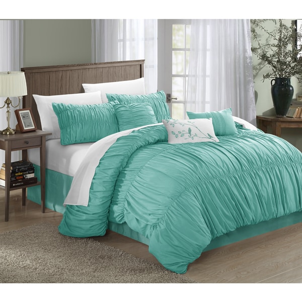 Chic Home Frances Aqua 11-piece Bed-in-a-Bag with Sheet Set