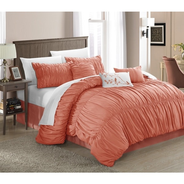 Chic Home Frances 11-piece Peach Comforter Bed-in-a Bag Set