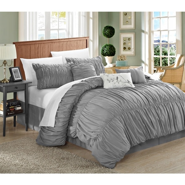 Chic Home Frances 11-piece Silver Comforter Bed-in-a-Bag Set