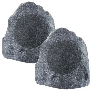 Theater Solutions 2R8G 8-Inch Woofers Outdoor Garden Waterproof Granite Rock Patio Speaker Pair (Granite Grey)