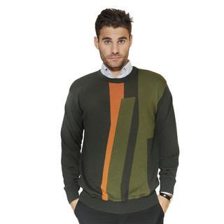 Cooper Men's Merino Wool Blend Asymmetrical Striped Crew Neck Sweater