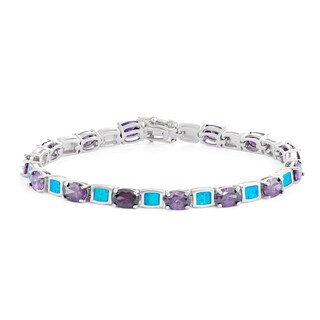 La Preciosa Sterling Silver Created Opal and Oval Cubic Zirconia Link Bracelet