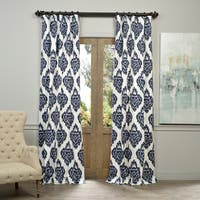 """Exclusive Fabrics Ikat Blue Printed Cotton Curtain Panel 84"""" in Blue (As Is Item)"""