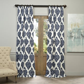 "Exclusive Fabrics Ikat Blue Printed Cotton Curtain Panel 84"" in Blue (As Is Item)"