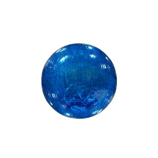 Blue Crackled Glass Ball with LED Lights
