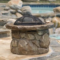Micah Outdoor Natural Cement Fire Pit by Christopher Knight Home