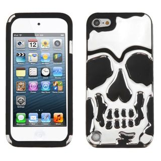 Insten Silver/ Black Skullcap Hard PC/ Silicone Dual Layer Hybrid Case Cover For Apple iPod Touch 5th Gen/ 6th Gen