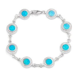 La Preciosa Sterling Silver Created Blue Opal and Cubic Zirconia Link Bracelet