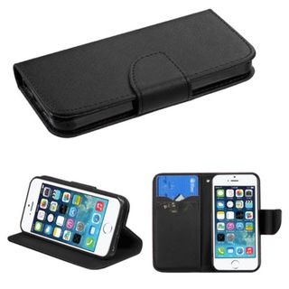 Insten Black Leather Case Cover with Stand/ Wallet Flap Pouch For Apple iPhone 5/ 5S