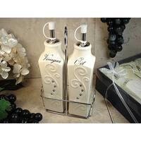 D'Lusso Designs Deco Design Two Piece Oil vinegar Cruet Set With Metal Caddy