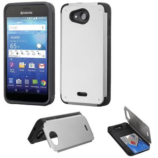 Insten Silver/ Black Hard Snap-on Rubberized Matte Case Cover with Card Slot For Kyocera Hydro Wave