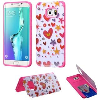 Insten Hot Pink/ White Heart Graffiti Hard Snap-on Rubberized Matte Case Cover with Card Slot For Samsung Galaxy S6 Edge Plus