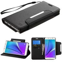 Insten Black Leather Case Cover Lanyard with Stand/ Wallet Flap Pouch For Samsung Galaxy Note 5