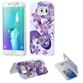 Insten Purple/ White Hibiscus Flower Romance Hard Snap-on Rubberized Matte Case Cover For Samsung Galaxy S6 Edge Plus