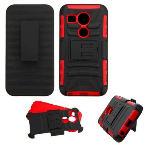 Insten Car Armor Hard PC/ Silicone Dual Layer Hybrid Case Cover with Holster For LG Google Nexus 5