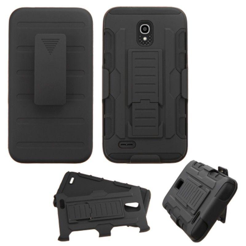 Insten Black Car Armor Hard PC/ Silicone Dual Layer Hybri...