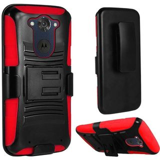 Insten Hard PC/ Silicone Dual Layer Hybrid Case with Holster for Motorola Droid Turbo 2