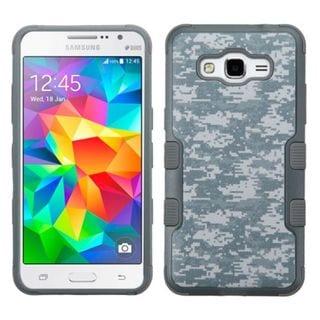 Insten Grey/White Camouflage Tuff hard PC Silicone Dual Layer Hybrid Rubberized Matte Case Cover For Samsung Galaxy Grand Prime