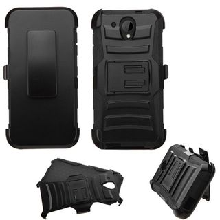 Insten Hard PC/ Silicone Dual Layer Hybrid Case Cover with Holster For HTC Desire 520