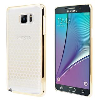 Insten Clear/Gold Honey Comb Hard Snap-on Rubberized Matte Case Cover For Samsung Galaxy Note 5
