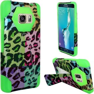 Insten Colorful/ Green Leopard Hard PC/ Silicone Dual Layer Hybrid Case Cover with Stand For Samsung Galaxy S6 Edge Plus