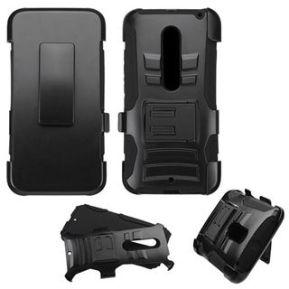 Insten Black Hard PC/ Silicone Dual Layer Hybrid Case Cover with Holster For Motorola Moto X(3rd Gen)