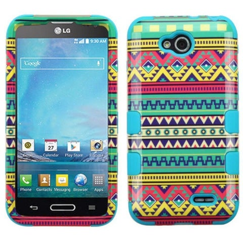Insten Green Tribal Sun Hard PC/ Silicone Dual Layer Hybrid Rubberized Matte Case Cover For LG Optimus L90
