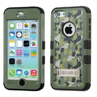 Insten Green/Black Camouflage Tuff hard PC Silicone Dual Layer Hybrid Case Cover with Stand For Apple iPhone 5C