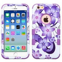Insten Purple/White Hibiscus Flowers Tuff Hard PC/ Silicone Dual Layer Hybrid Rubberized Matte Case Cover For Apple iPhone 6/6s