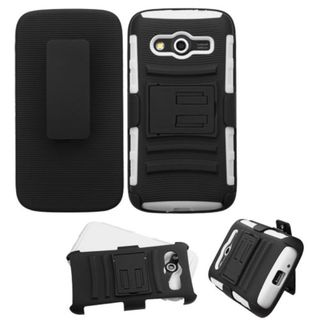 Insten Black/ White Hard PC/ Silicone Dual Layer Hybrid Case Cover with Holster For Samsung Galaxy Avant
