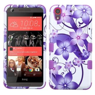 Insten Purple/White Hibiscus Flowers Tuff Hard PC/ Silicone Dual Layer Hybrid Case Cover For HTC Desire 626/626s