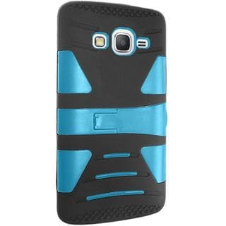 Insten Black/ Blue hard PC Silicone Dual Layer Hybrid Rubberized Matte Case Cover with Stand For Samsung Galaxy Grand Prime