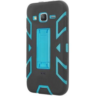 Insten Black/ Blue Soft Silicone PC Dual Layer Hybrid Rubber Case Cover with Stand For Samsung Galaxy Grand Prime