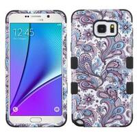 Insten Purple/ White European Flowers Tuff Hard PC/ Silicone Dual Layer Hybrid Case Cover For Samsung Galaxy Note 5
