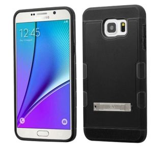 Insten hard PC Silicone Dual Layer Hybrid Rubberized Matte Case Cover with Stand For Samsung Galaxy Note 5