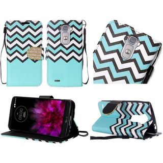 Insten Blue/White Chervon Leather Case Cover Lanyard with Stand/Diamond For LG G Flex 2
