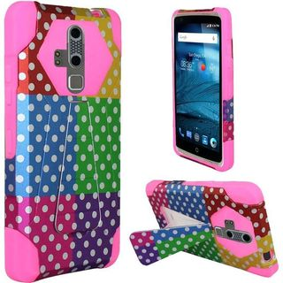 Insten Colorful/ Hot Pink Polka Dots Hard PC/ Silicone Dual Layer Hybrid Case Cover with Stand For ZTE Axon Pro