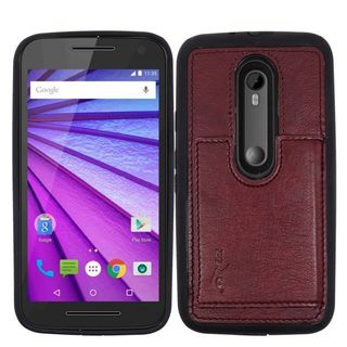 Insten Leather TPU Dual Layer Hybrid Case Cover with Wallet Flap Pouch For Motorola Moto G (3rd Gen)
