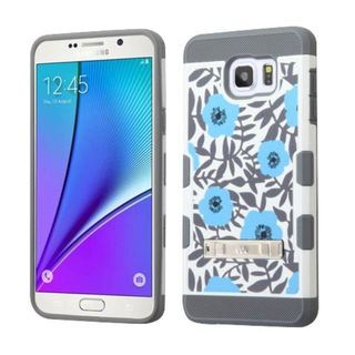 Insten Blue/White Flowers Hard Snap-on Case Cover with Stand For Samsung Galaxy Note 5