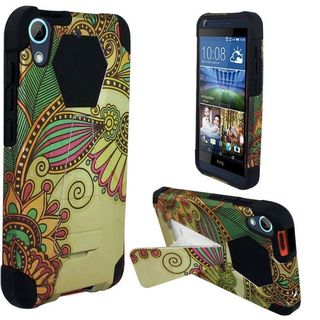 Insten Yellow Antique Flower Hard PC/ Silicone Dual Layer Hybrid Case Cover with Stand For HTC Desire 626/ 626s
