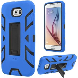 Insten Soft Silicone/ PC Dual Layer Hybrid Rubber Case Cover with Stand For Samsung Galaxy S6