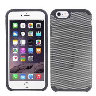 Insten Black Carbon Fiber Hard PC/ Silicone Dual Layer Hybrid Rubberized Matte Case Cover For Apple iPhone 6/ 6s
