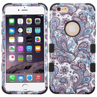 Insten Purple/ Black European Flowers Tuff Hard PC/ Silicone Dual Layer Hybrid Case Cover For Apple iPhone 6 Plus/ 6s Plus